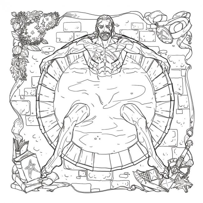 looking over the previews you can see examples of the books ready to color images including geralt sprawled out in a bathtub geralt trying to wrangle an - Nude Coloring Book