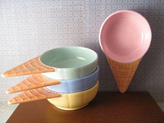 Ice cream cone shaped bowls