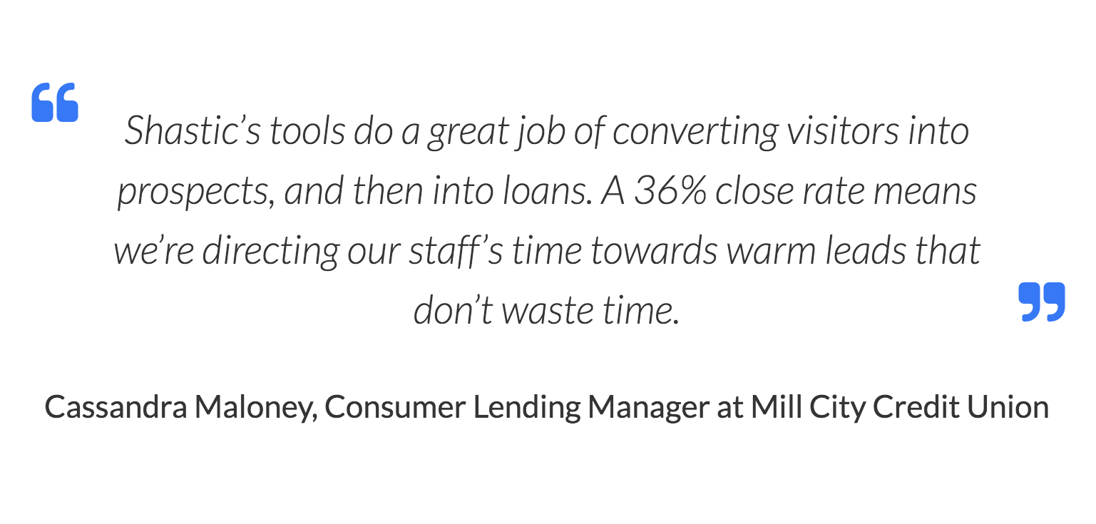 Shastic's tools do a great job of converting visitors into prospects, and then into loans. A 36% close rate means we're directing our staff's time towards warm leads that don't waste time. Cassandra Maloney, Consumer Lending Manager at Mill City Credit Union