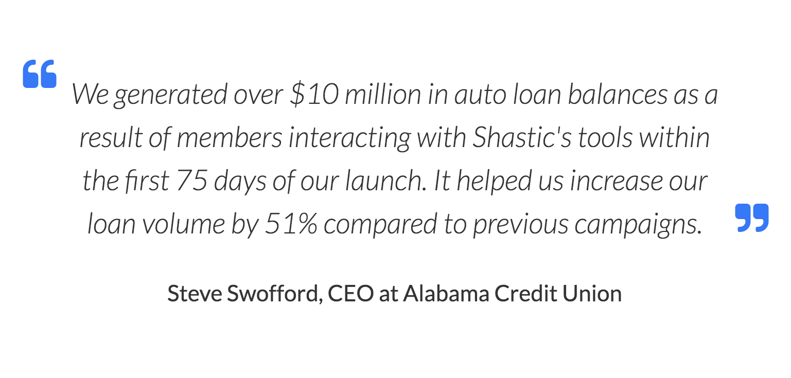 We generated over $10 million in auto loan balances as a result of members interacting with Shastic's tools within the first 75 days of our launch. It helped us increase our loan volume by 51% compared to previous campaigns. Steve Swofford, CEO at Alabama Credit Union