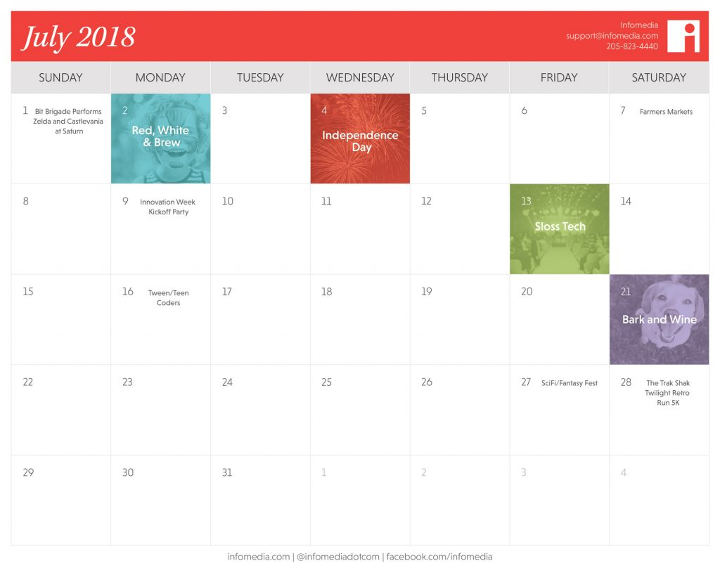 calendar of july 2018 birmingham events
