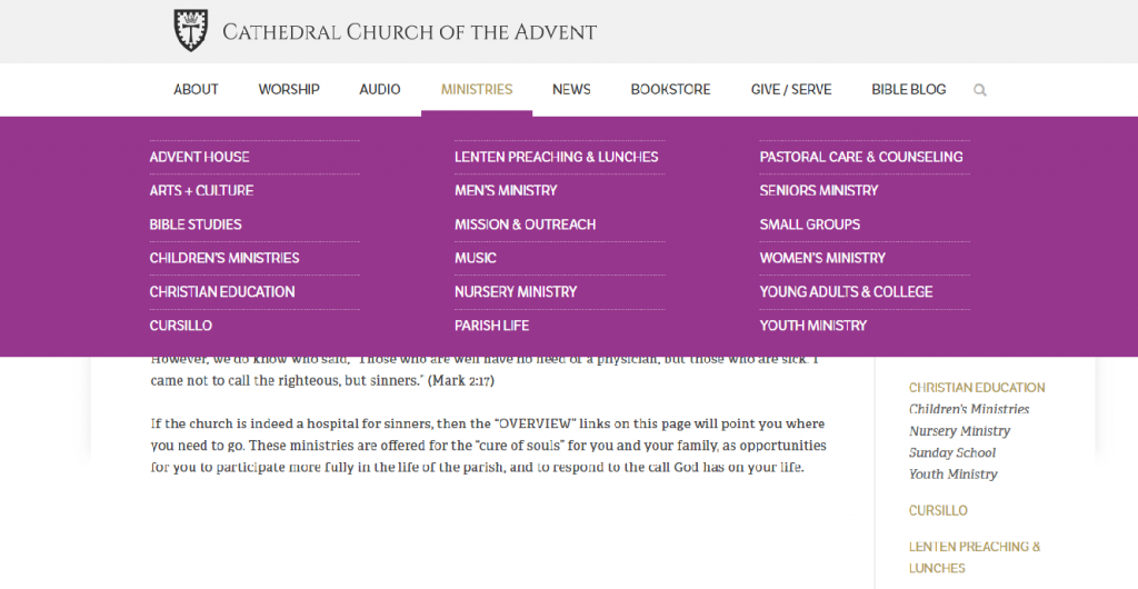 cathedral church of the advent's ministries website menu