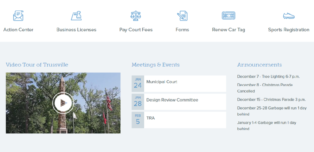 screenshot of the city of trussville's homepage