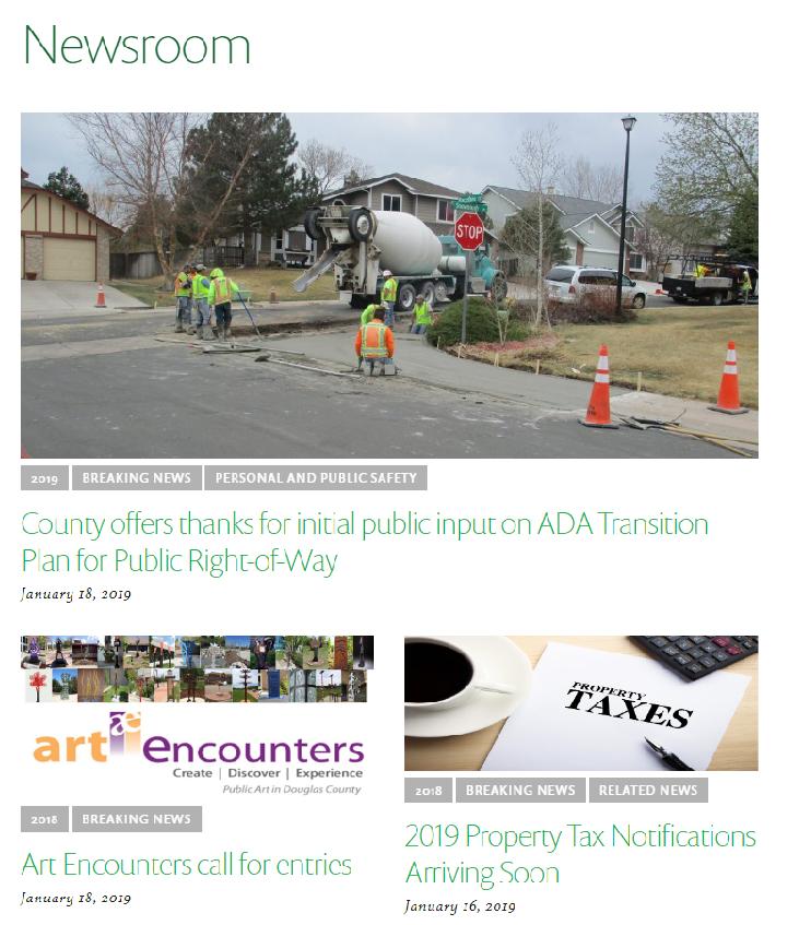 screenshot of douglas county's news page