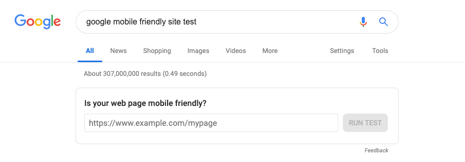 "google search results for ""google mobile friendly site test"""