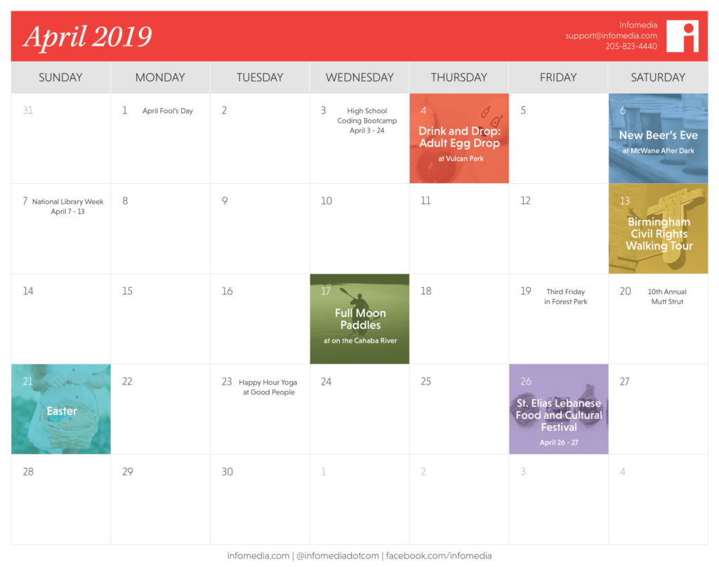 calendar of birmingham events in april 2019