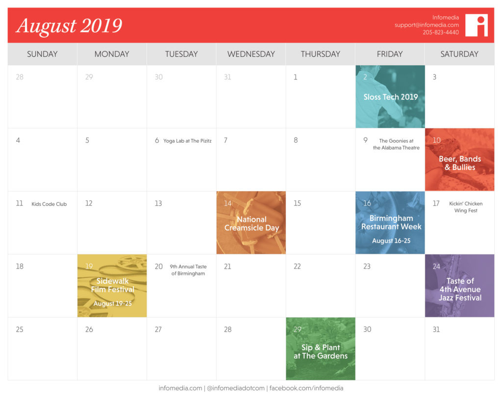 calendar of birmingham events in august 2019