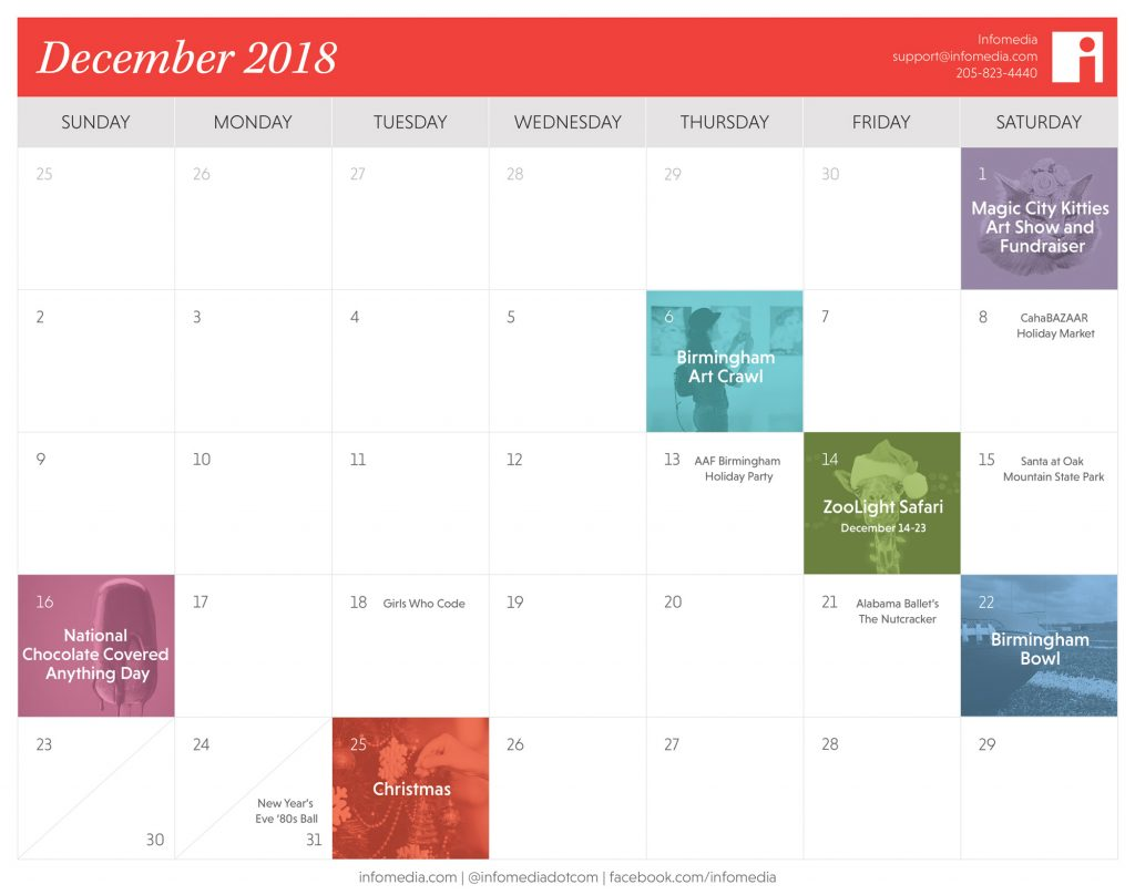 calendar showing events in birmingham