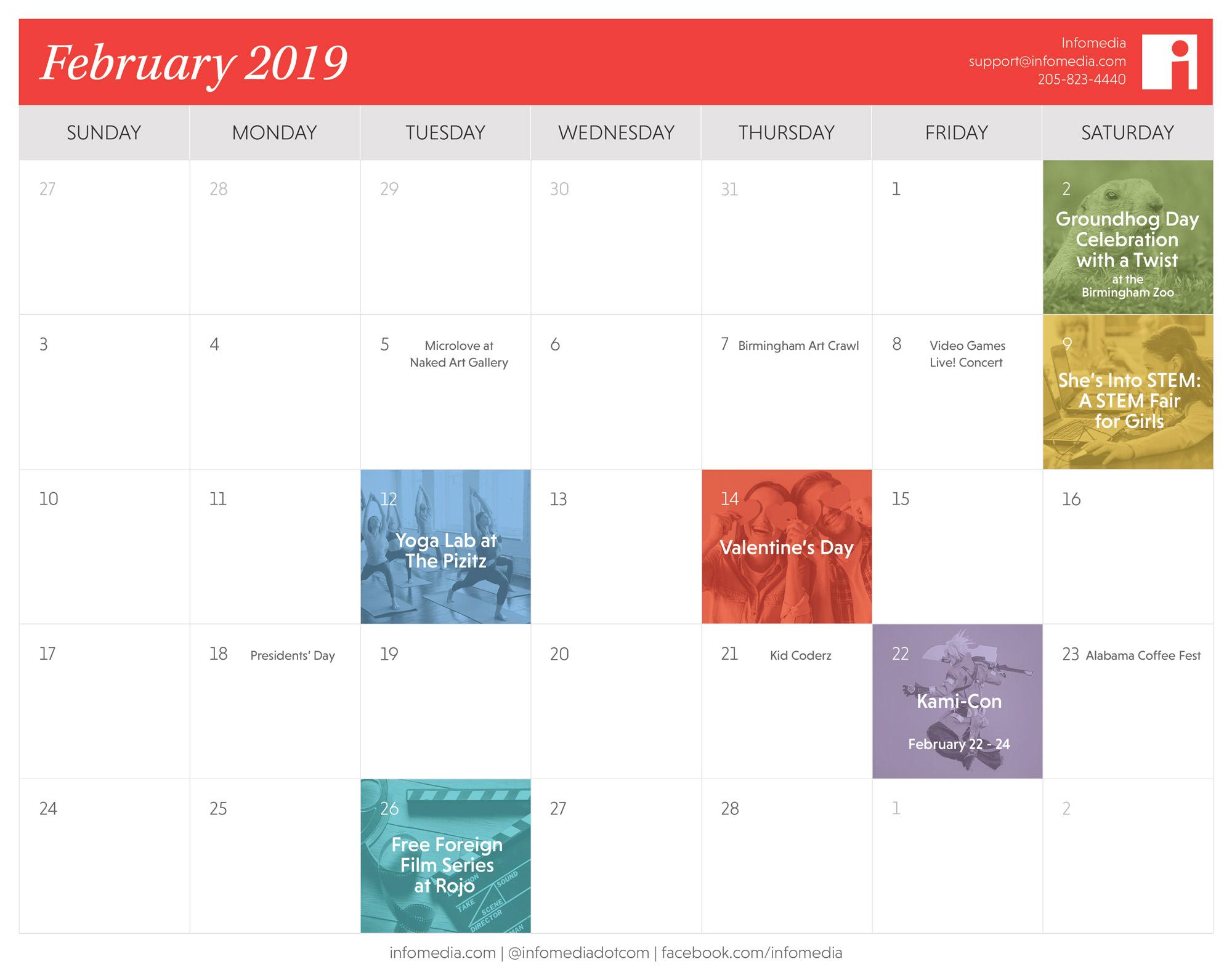 Our Free February 2019 Birmingham Calendar is Here