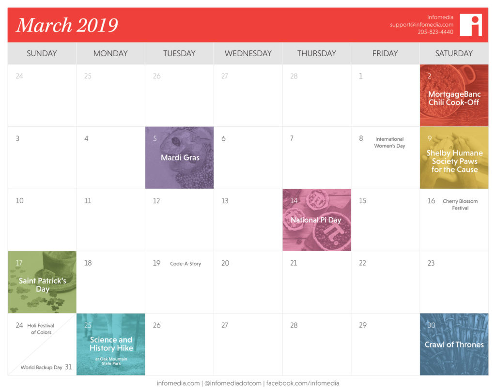 calendar of birmingham events in march 2019