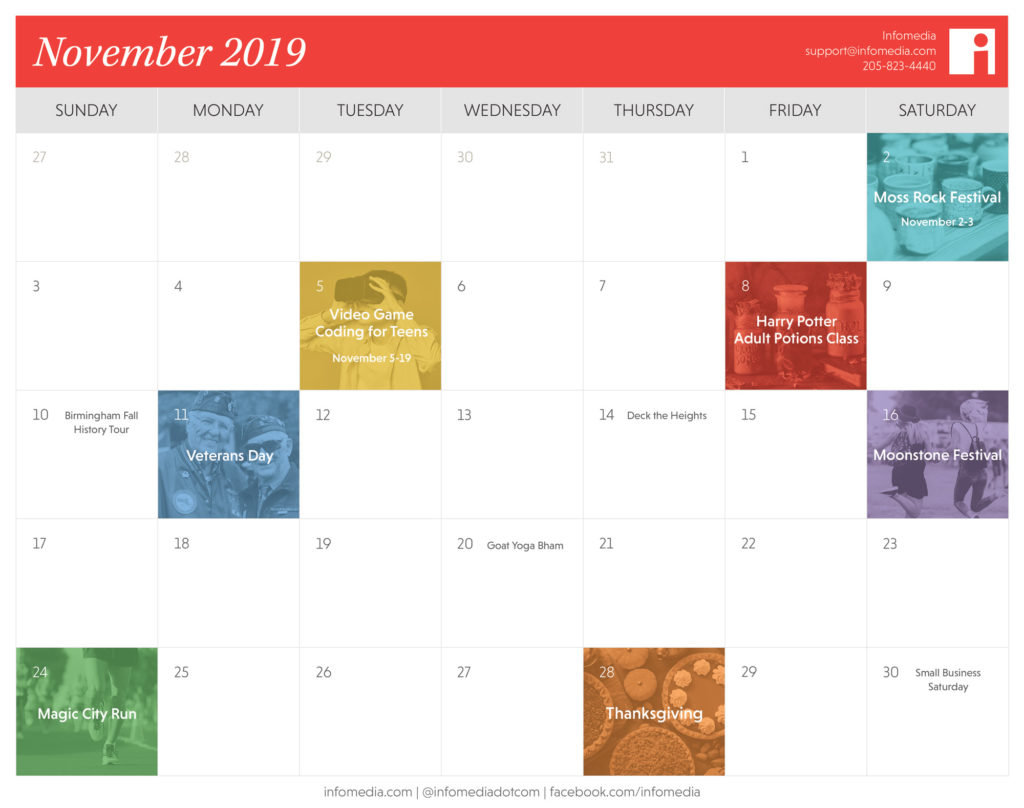 calendar of birmingham events in november 2019