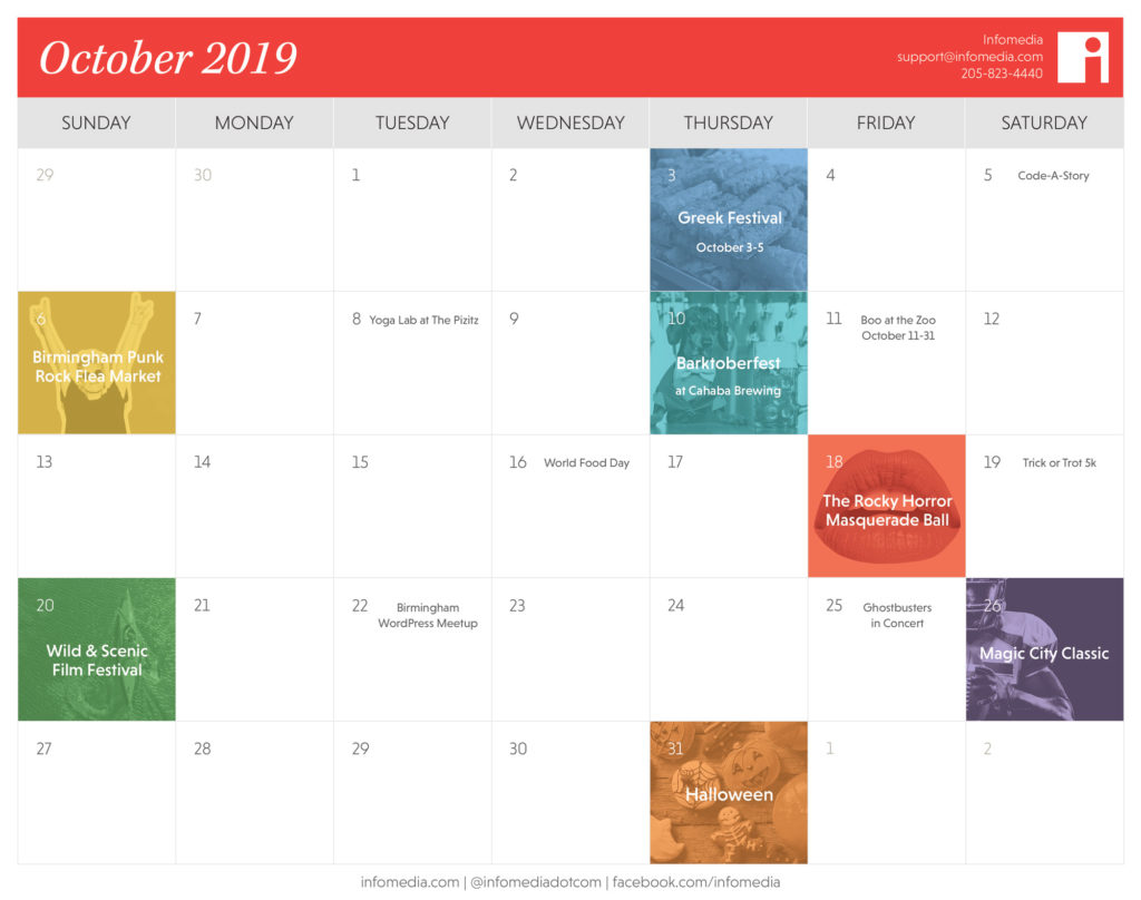 calendar of birmingham events in october 2019