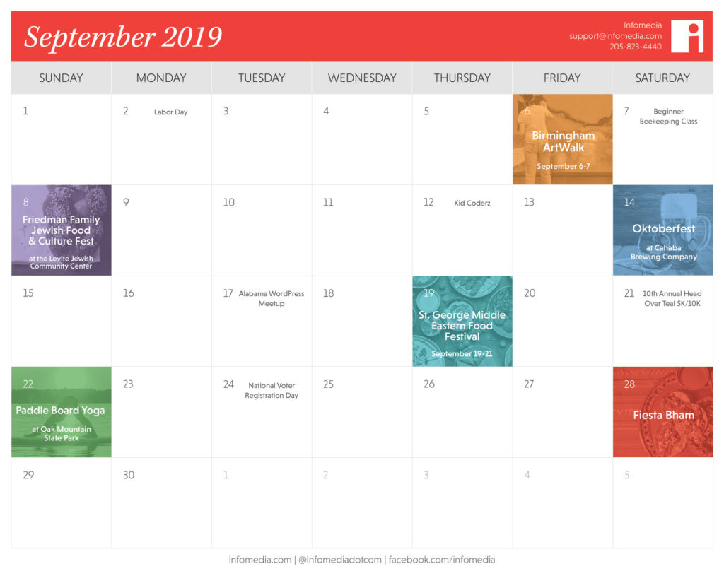 calendar of birmingham events in september 2019