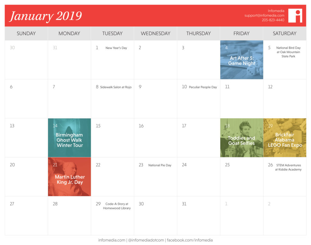 calendar of birmingham events in january 2019