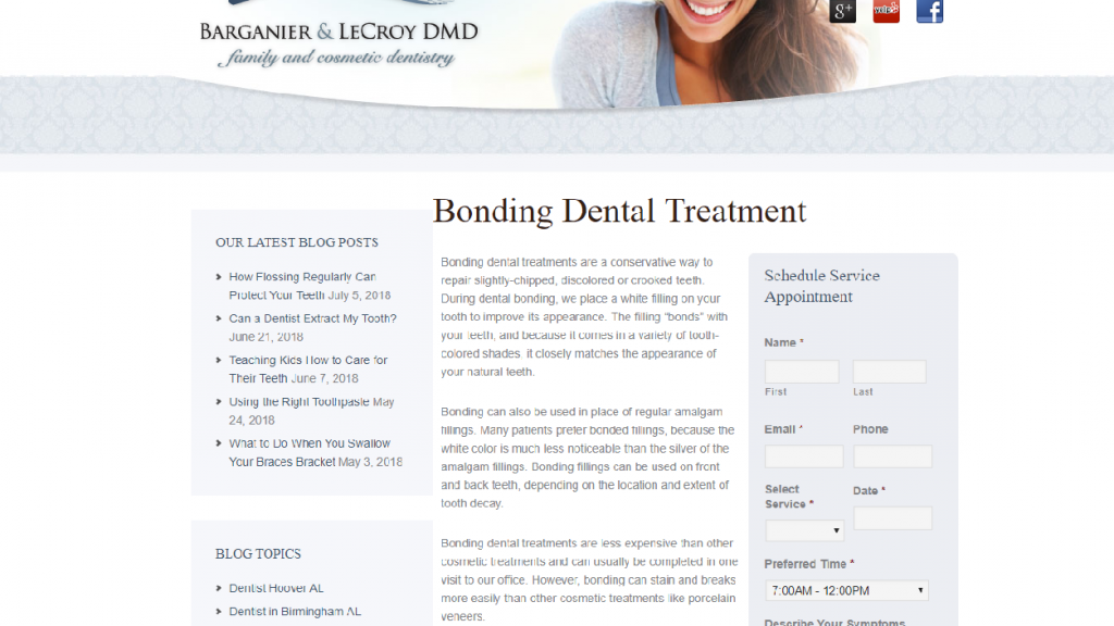 a dentist website page showing service options