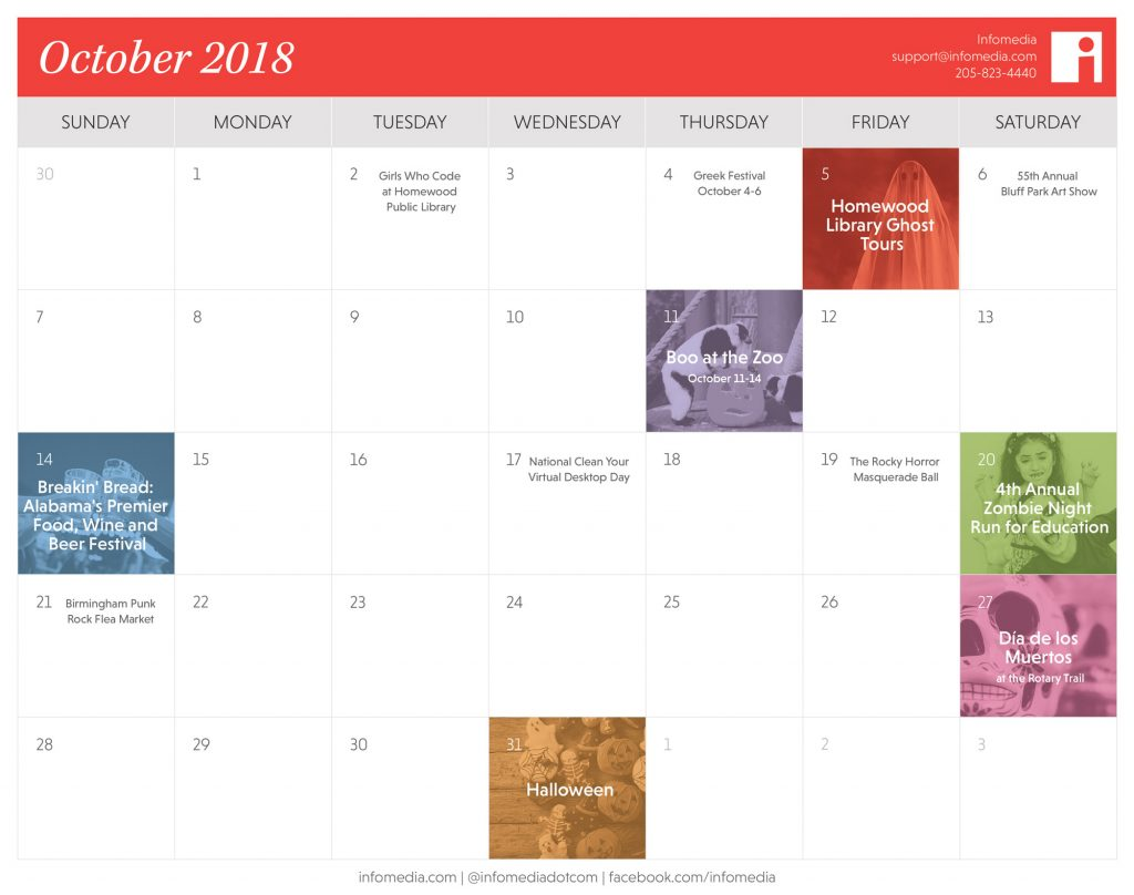 calendar of events in birmingham during october