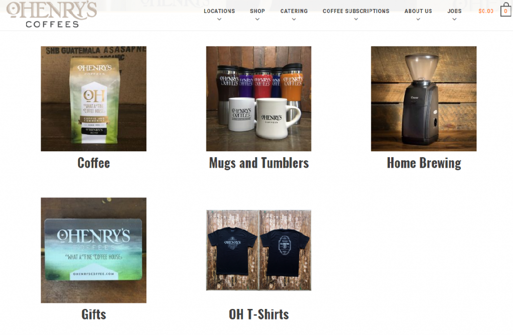 a coffee shop website showing products for sale