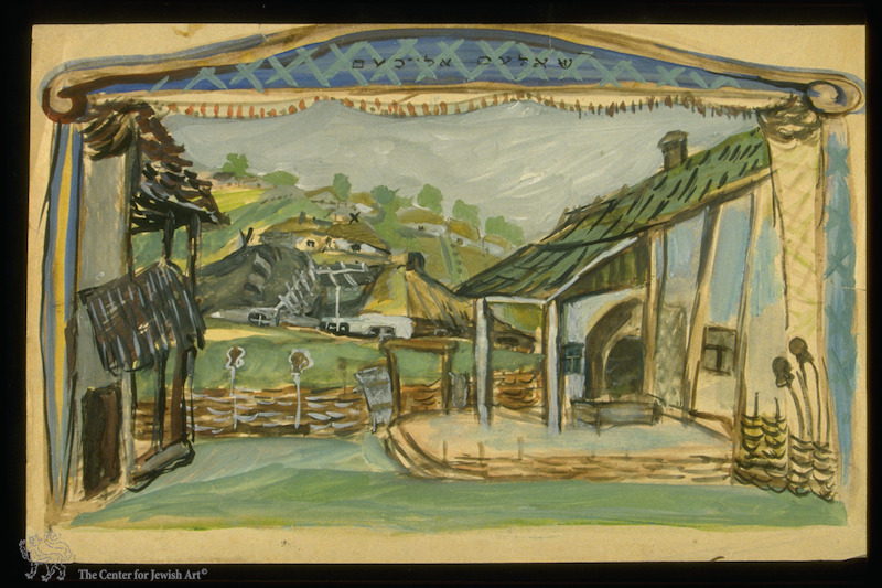 """<table class=""""table""""><tbody><tr><td>Akselrod, Stage design for <span class=""""push-double""""></span><span class=""""pull-double"""">""""</span>Tevye the Dairyman"""" by Sholem-Aleikhem, From the collection of the <a href=""""https://www.nli.org.il/en/images/NNL03_CJA700427913/NLI_CJA"""">National Library of Israel</a>, courtesy of: Zev&nbsp;Radovan.</td></tr></tbody></table>"""