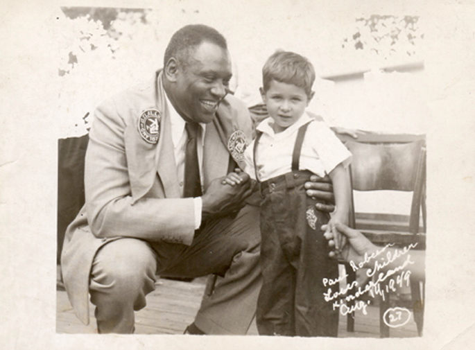 "<p>Paul Robeson at Camp Kinderland, 1949 (via <a href="" Eric Goldstein, The Price of Whiteness: Jews, Race, and American Identity, 3. "">Camp&nbsp;Kinderland</a>)</p>"