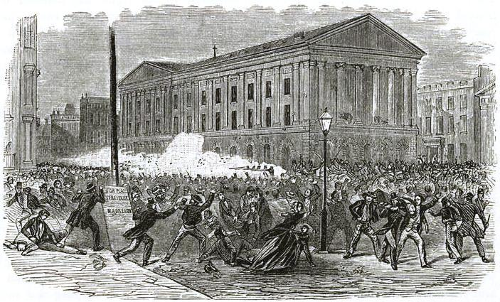 <p>Engraving depicting the Astor Place Opera House&nbsp;riots.</p>