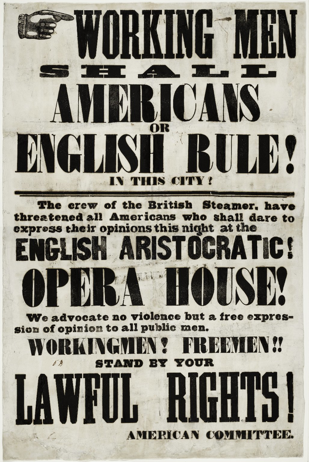 <p>A handbill distributed prior to the Astor Place&nbsp;Riots.</p>