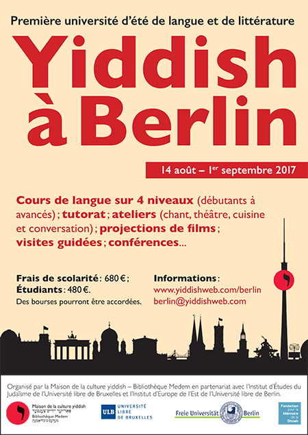 """<p>Flyer for Yiddish summer program in Berlin,&nbsp;<span class=""""numbers"""">2017</span>.</p>"""