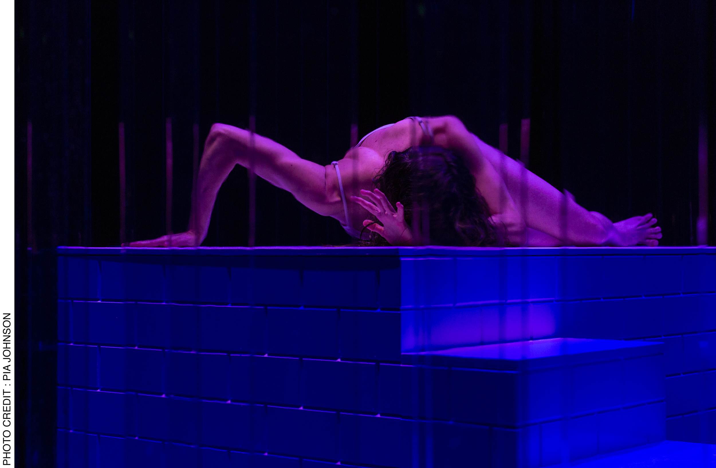 <p>At the end of Act 2, performer Lauren Langlois embodies possession with astonishing physicality. Photo Credit: Pia&nbsp;Johnson.</p>