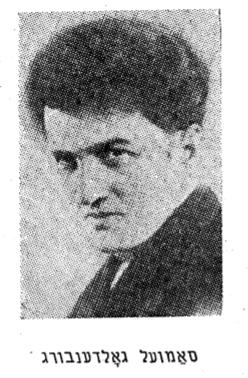 "<p>Samuel Goldenberg. Source: Adolf Mide, <em>Epizodn fun yidishn teater (Episodios del teatro judío)</em>, vol. <span class=""numbers"">1</span>, <span class=""numbers"">4</span><sup class=""ordinal"">th</sup> edition (Buenos Aires: <span class=""numbers"">1957</span>), p.&nbsp;<span class=""numbers"">55</span>.</p>"