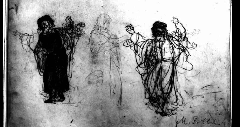 <p><em>Tańczący chasydzi </em>(Dancing Hasidim). Maurycy Gottlieb, ca. 1875. Pencil on paper. (Jewish Historical Institute,&nbsp;Warsaw)</p>