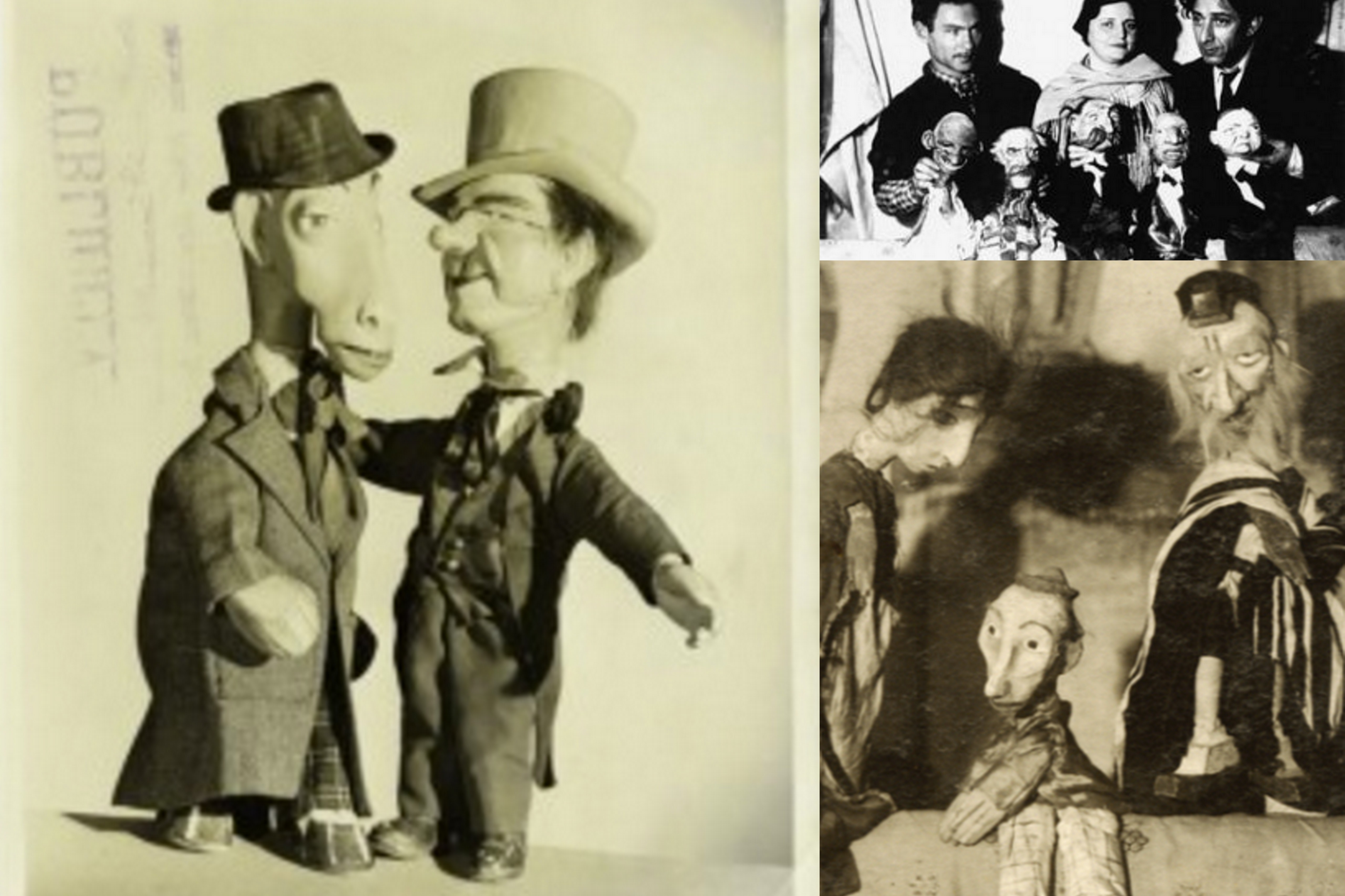 "<p>(right) Yosl Cutler and his puppets, (left) puppets from <em>Bobo the Hobo by</em> Zuni Maud and Nat Norbert.<br>Via <a href=""http://io9.gizmodo.com/5956998/no-headline"" target=""_blank"">1</a>, <a href=""http://jewishcurrents.org/june-12-modicut-theater/"" target=""_blank"">2</a>, <a href=""http://muse.jhu.edu/article/32954"" target=""_blank"">3 </a></p>"
