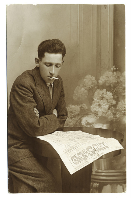 "<p>Portrait of Henokh Goldschmidt, member of the Bund, reading its newspaper, the <em>Folkstsaytung, </em>in Gabin, Poland, 1925. <a href=""http://polishjews.yivoarchives.org/archive/index.php?p=digitallibrary/digitalcontent&id=3129"">Courtesy of&nbsp;<span class=""caps"">YIVO</span>.</a></p>"