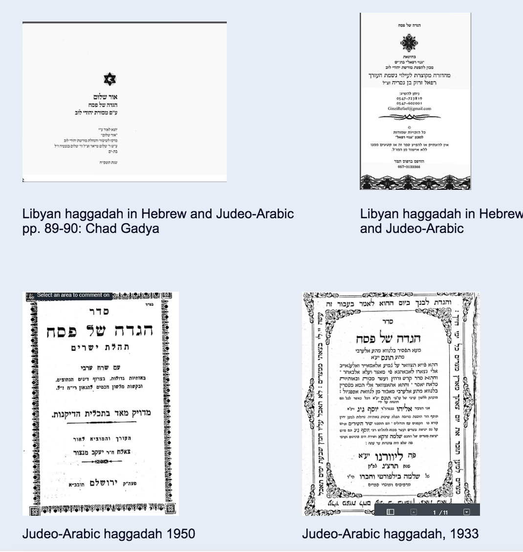 "<p>Judeo-Arabic Haggadot collected in the Passover section of the Jewish Languages Project website. Source:&nbsp;<a href=""https://www.jewishlanguages.org/images-of-haggadot"">https://www.jewishlanguages.org/images-of-haggadot</a></p>"