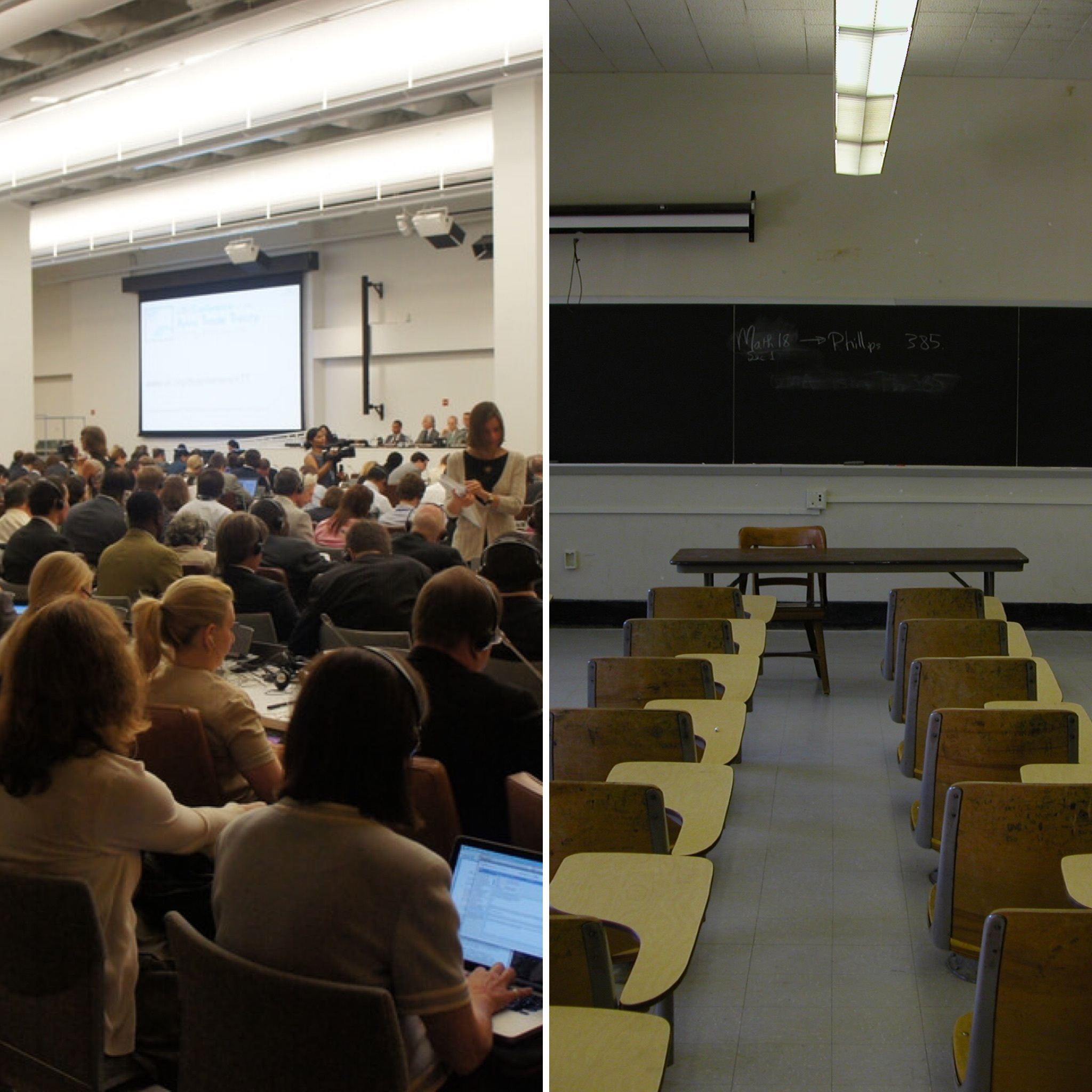 <p>On the left, a typical Yiddish class, and on the right, a typical English&nbsp;class. </p>