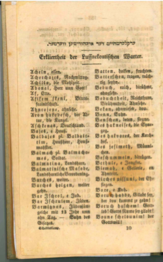 <p>First page of glossary for <i>The Shabbes Lamp</i>. Scan courtesy of Center for Jewish History research librarian Tyi-Kimya&nbsp;Marx.</p>