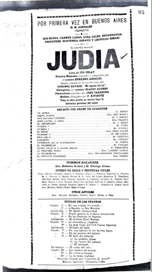 """<p>Program for <em>Judía. </em>Teatro Porteño, <span class=""""numbers"""">1926</span>. Courtesy&nbsp;<span class=""""caps"""">ARGENTORES</span>.</p>"""