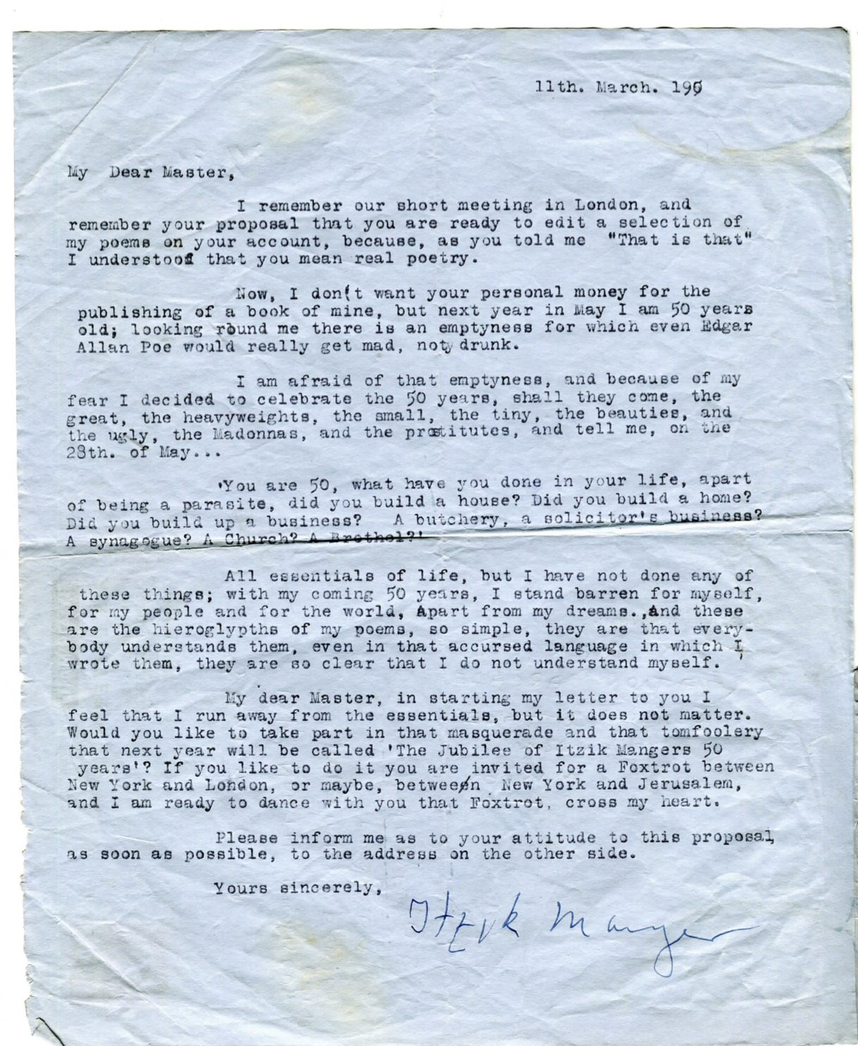 <p><em>Letter to Sholem Asch from Itzik Manger, London, March 11, 1950. Source: David&nbsp;Mazower.</em></p>