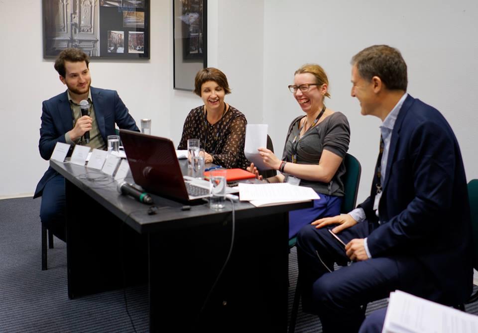 <p>Conference organizer Tal Hever-Chybowski with panelists Magdalena Kozłowska, Evita Wiecki, and David Mazower. (Credit: Żydowski Instytut&nbsp;Historyczny)</p>