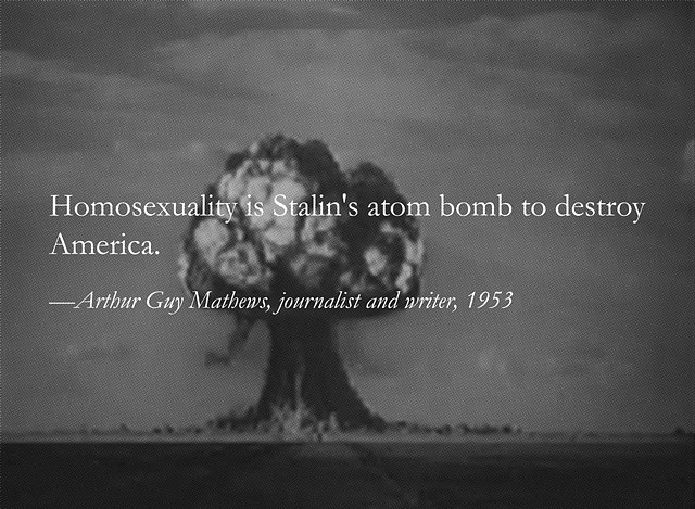 "<p><em><a href=""http://yevgeniyfiks.com/section/348670-Homosexuality-is-Stalin-s-Atom-Bomb-to-Destroy-America-2012.html"">Homosexuality is Stalin's Atom Bomb to Destroy America</a></em>, Yevgeniy Fiks (2012). Courtesy the artist's website.</p>"