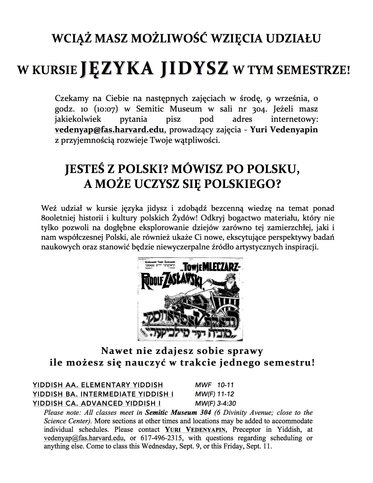 <p>From the Polish: Take a course in Yiddish and gain invaluable knowledge on the more than 800 year history of Polish Jewish&nbsp;culture!</p>