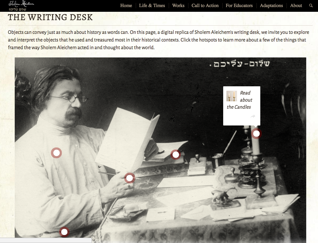 <p>Explore Sholem Aleichem&#8217;s Writing&nbsp;Desk</p>