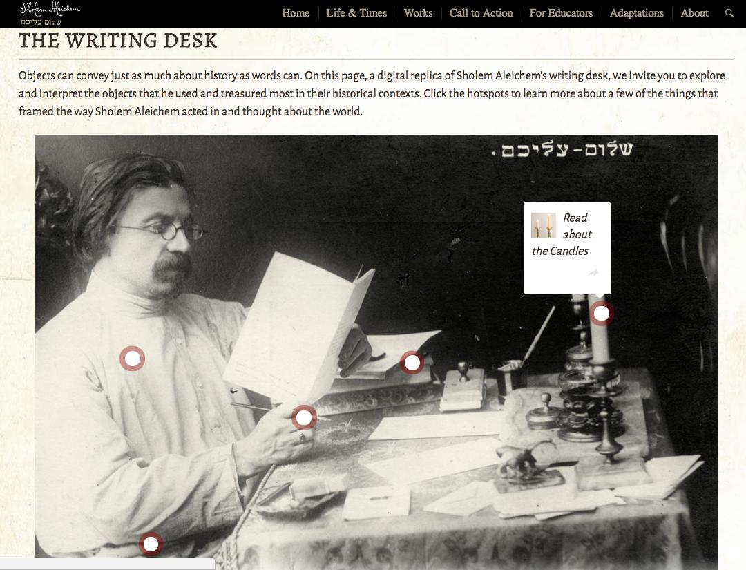 <p>Explore Sholem Aleichem's WritingDesk</p>