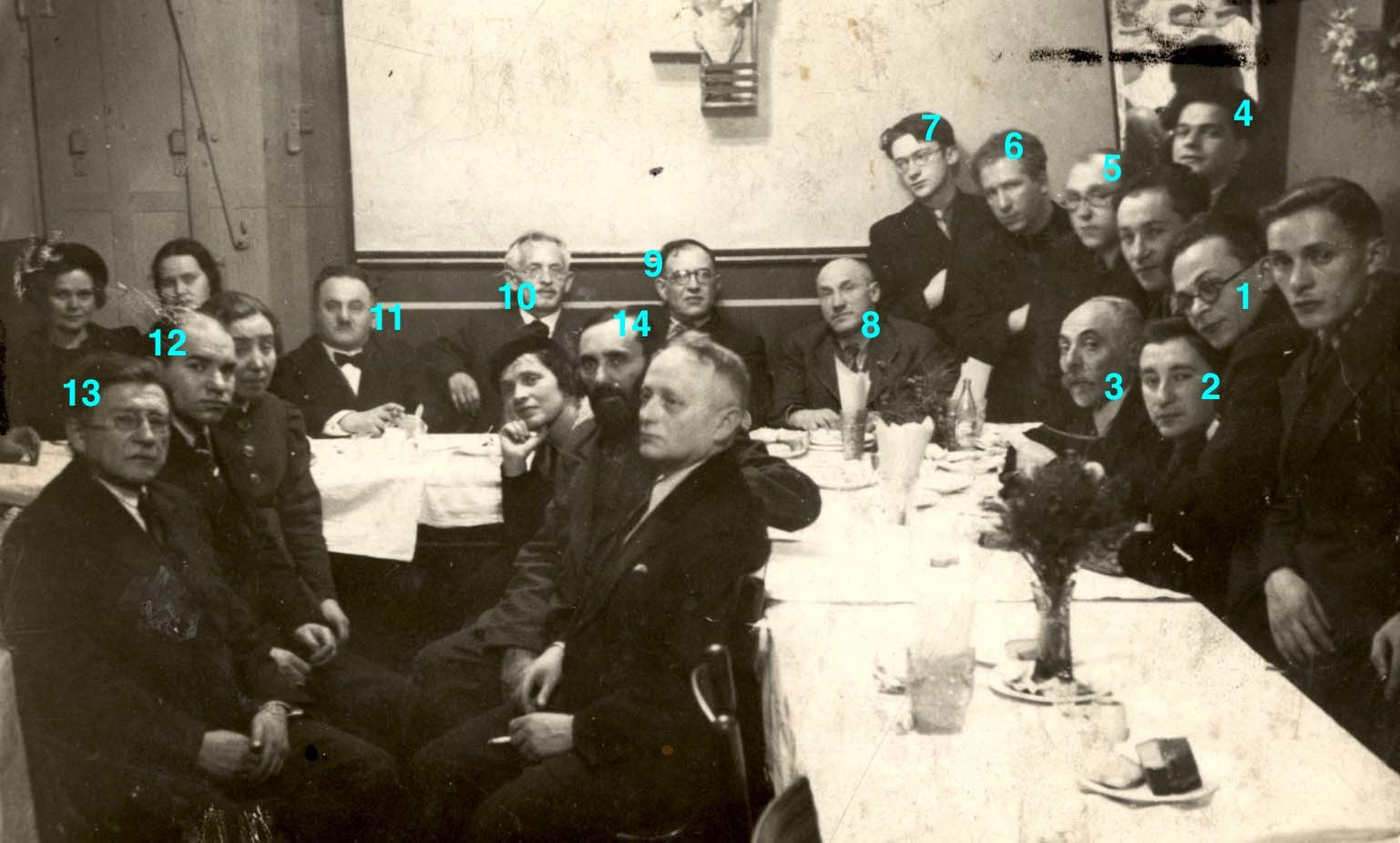 <p>The same photograph of Yiddishists at Velfke's restaurant, numbered for identification. Source: Yad Vashem, Photo Archive, Jerusalem, Archival Signature&nbsp;3380/296.</p>