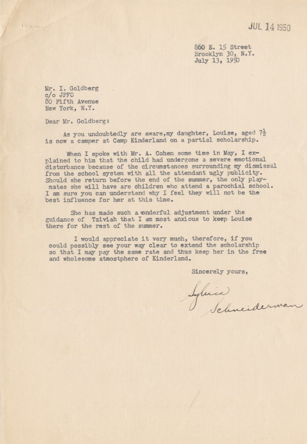 "<p><em>1950 letter from Sylvia Schneiderman, a Jewish American mother and New York City public school teacher fired for her Communist Party affiliation, to Itche Goldberg, legendary Yiddish writer/editor and the then- director of Camp Kinderland. Source: </em><em>International Workers Order (<span class=""caps"">IWO</span>) Records #5276. Kheel Center for Labor-Management Documentation and Archives, Cornell University Library.&nbsp;<a href=""https://digital.library.cornell.edu/catalog/ss:21072533"">https://digital.library.cornell.edu/catalog/ss:210&#8230;</a></em></p>"