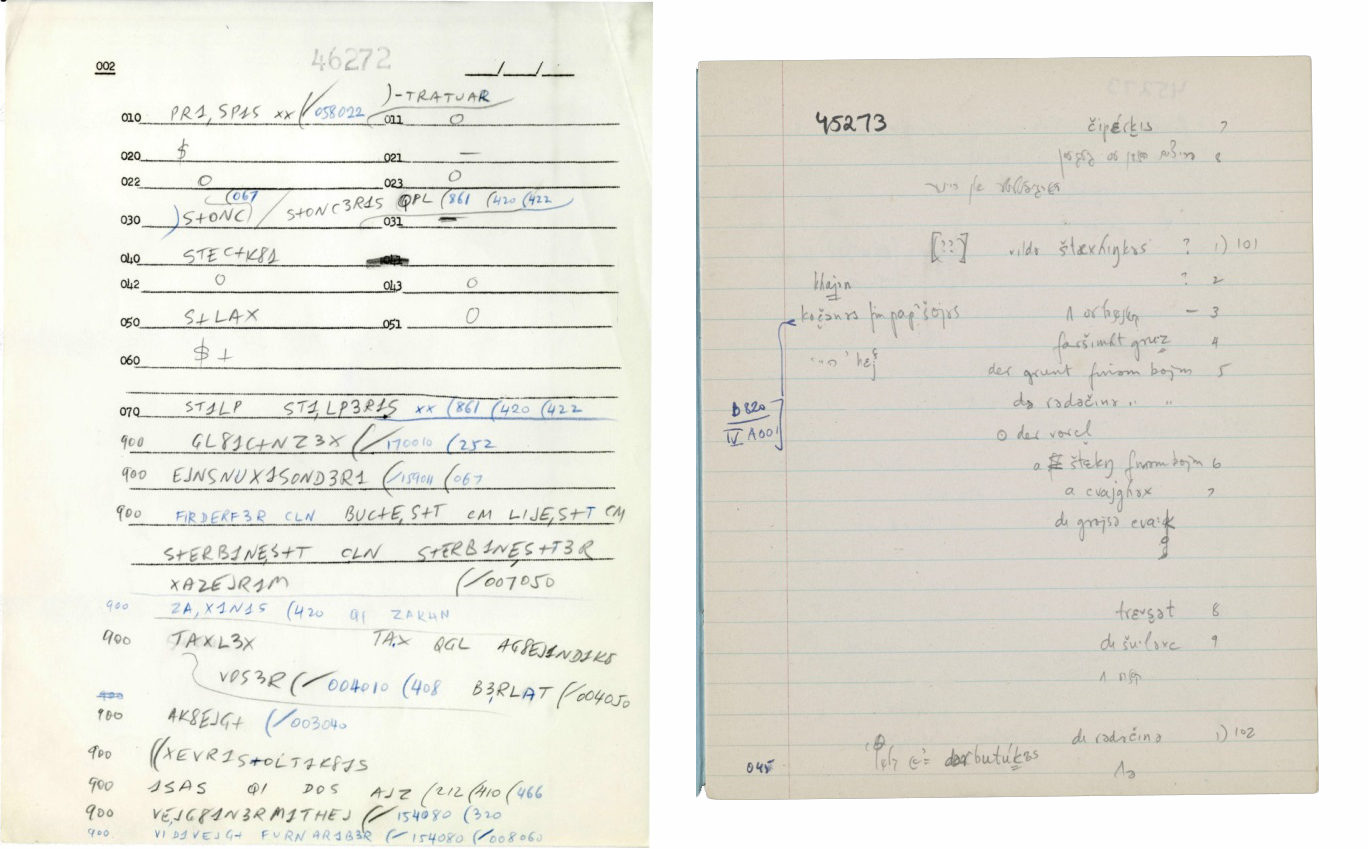 "<p>Examples of questionnaire pages for the Language and Culture Archive of Ashkenazic Jewry (<span class=""caps"">LCAAJ</span>), which consists of field interviews recorded between 1959 and 1972 with Yiddish-speaking informants conducted by Columbia University's Department of Linguistics.  Learn more <a href=""https://ingeveb.org/blog/yiddish-linguistics-and-digital-humanities-a-conversation-with-michelle-chesner-about-the-digitization-of-the-language-and-culture-atlas-of-ashkenazi-jewry-archive-at-columbia-university"">here</a>.  Image courtesy of Columbia University&nbsp;Libraries.</p>"