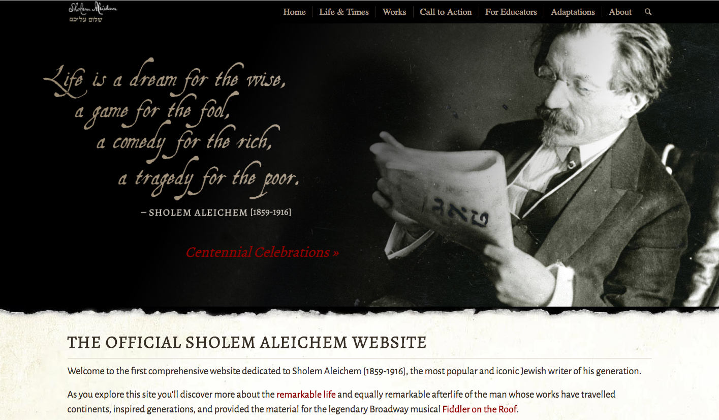 <p>Homepage of&nbsp;SholemAleichem.org</p>