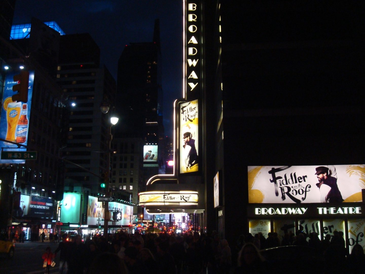"<p>The marquee for <em>Fiddler, </em>outside the Broadway Theatre in <span class=""caps"">NYC</span> (credit: Michael&nbsp;Yashinsky)</p>"
