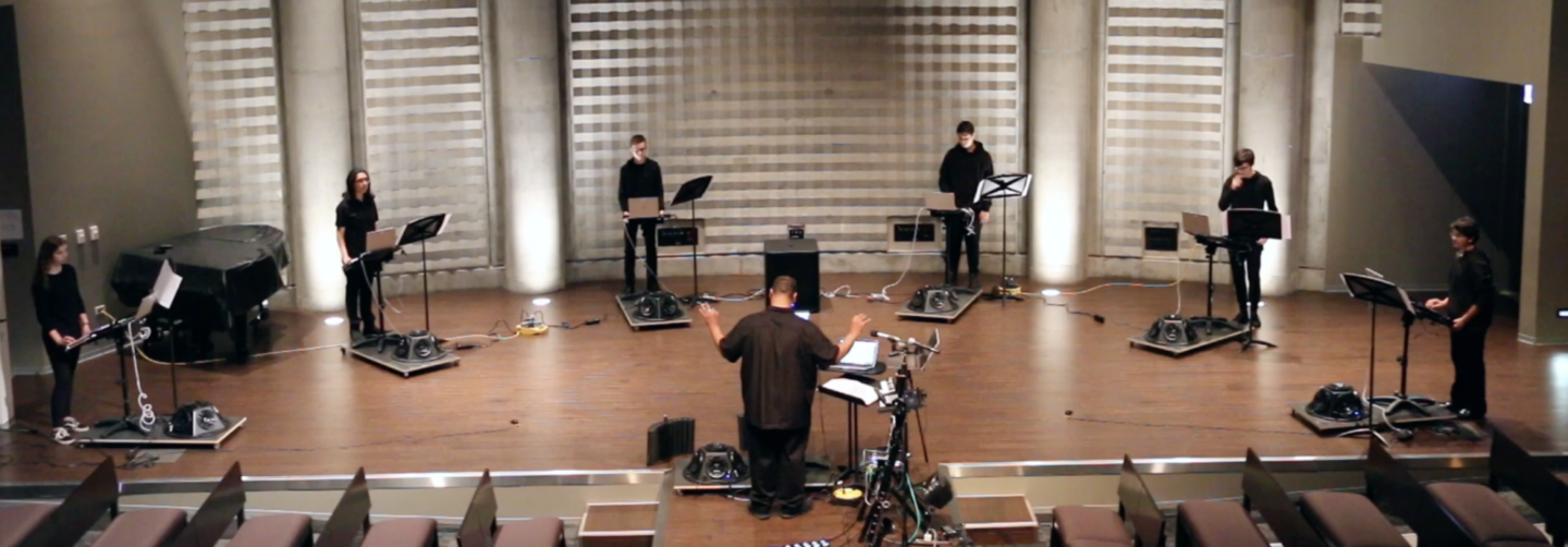 <p>Francisco Dean conducts the Chicago Lab School&#8217;s Electronic Orchestra in a performance of <em>Frilingdik Umbazigt: As the Spring&nbsp;Unconquered</em></p>