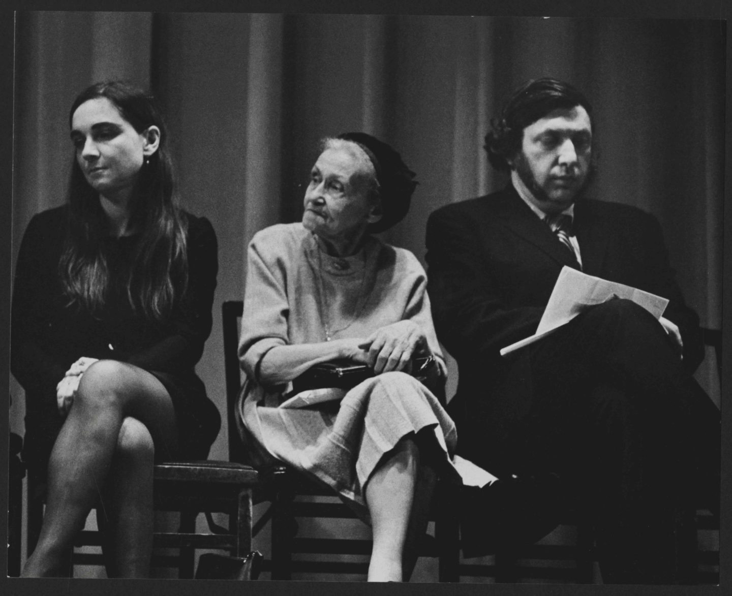 <p>Kadia Molodowsky seated between Adrienne Rich and John Hollander at a reading at the 92nd Street Y on November 2, 1969. Photo © Arnold Chekow (used with permission).</p>