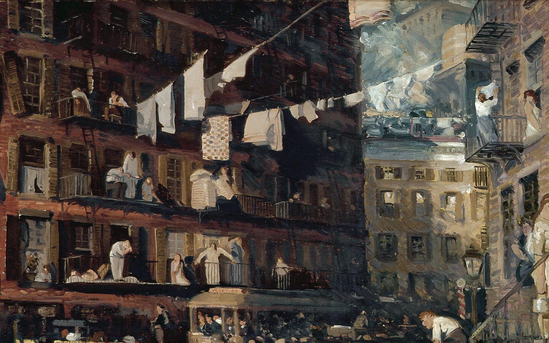 "<p ""=""""><em>Cliff Dwellers</em> by George Bellows (1913)</p>"