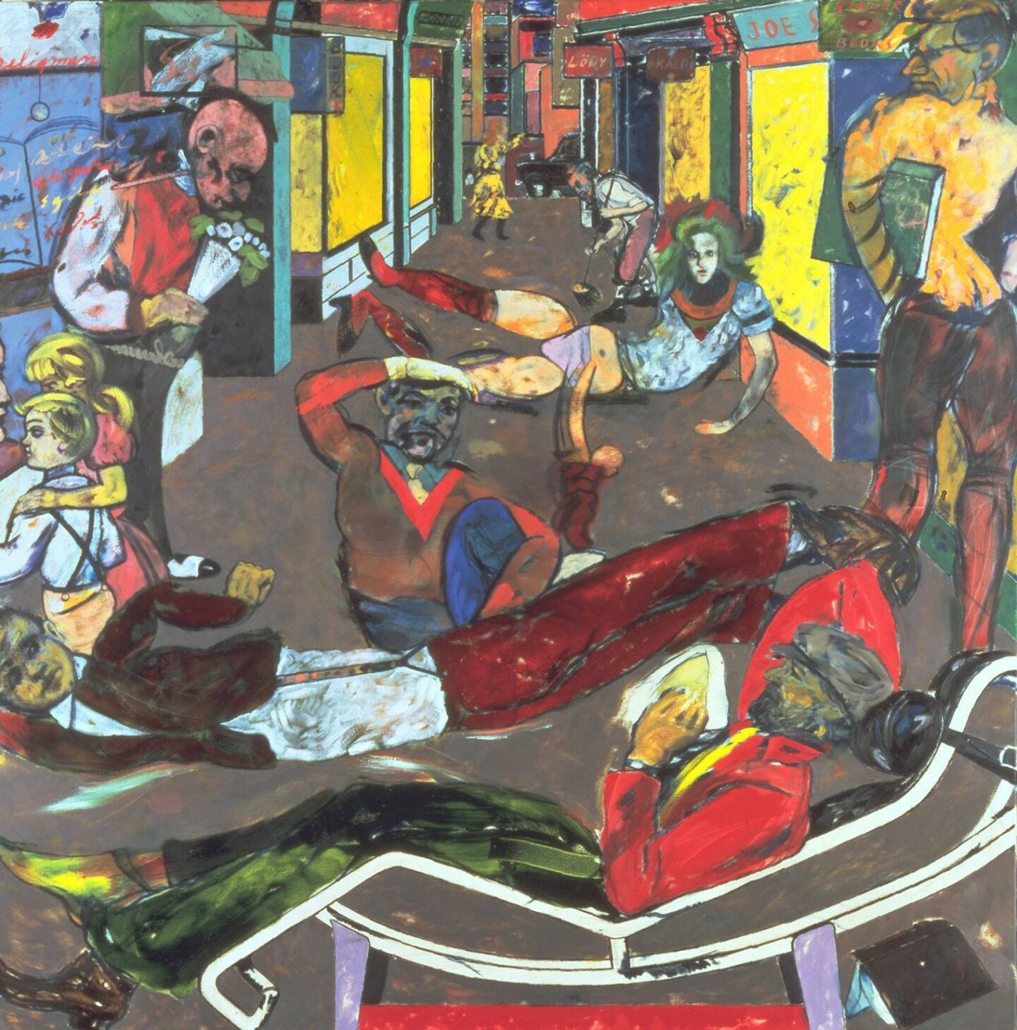 "<p>Dias­porist painter R.B. Kita­j's <span class=""numbers"">1984</span> paint­ing <span class=""push-double""></span>​<span class=""pull-double"">""</span>Cecil Court, Lon­don W.C.<span class=""numbers"">2</span>. (The Refugees)"" depicts dias­poric Yid­dish life. <a href=""http://www.tate.org.uk/art/artworks/kitaj-cecil-court-london-w-c-2-the-refugees-t04115"">Tate Muse­um, Lon­don</a>.</p>"